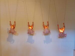 Nína Óskarsdóttir, Chickens (Kjúklingar). 2014. Installation at Skarkali at Ekkisens