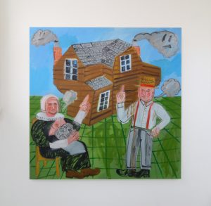 Family with Well-Constructed Dwelling, 2016, Oil on Board, Install view at Trade Gallery, Nottingham
