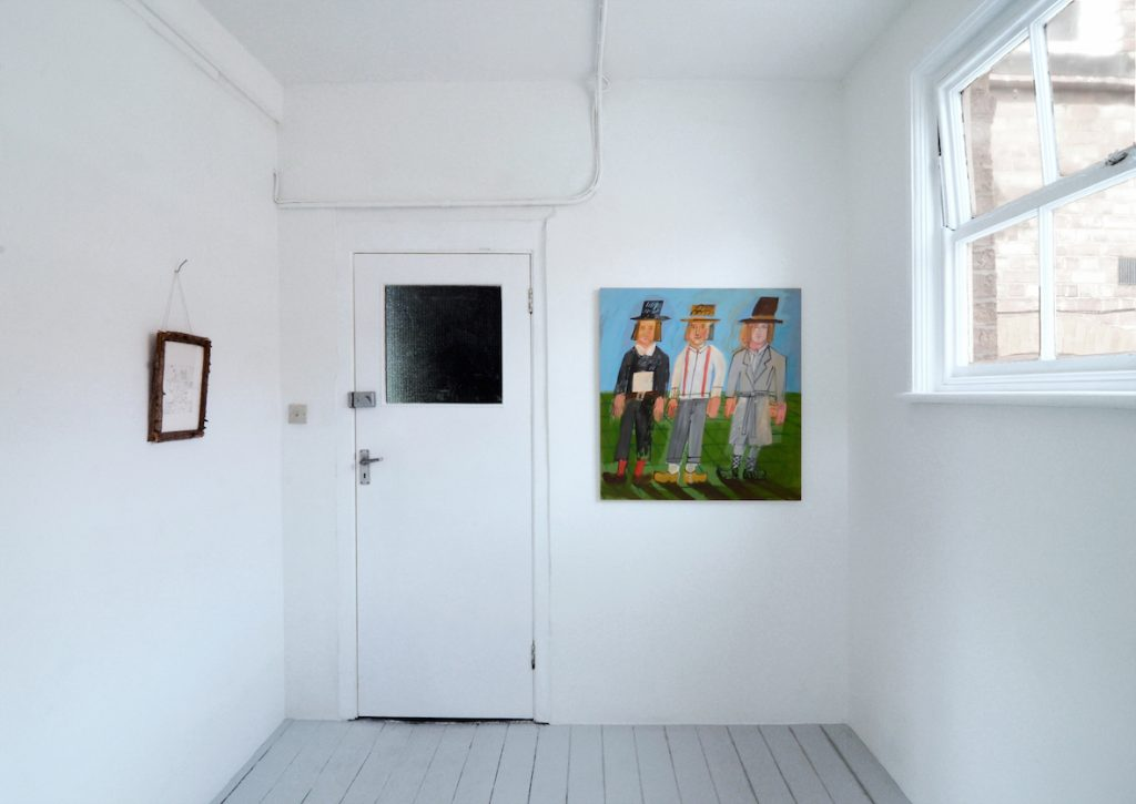 Three Brothers, Possibly Triplets, 2016, Oil on Board, Install view at Trade Gallery, Nottingham
