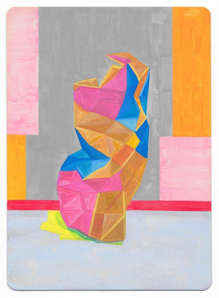 Pensive, 2017. Gouache on card. Louisa Chambers