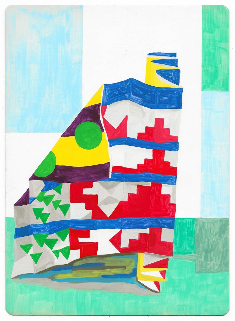 Ziggurat, 2017, Gouache on Card. Louisa Chambers