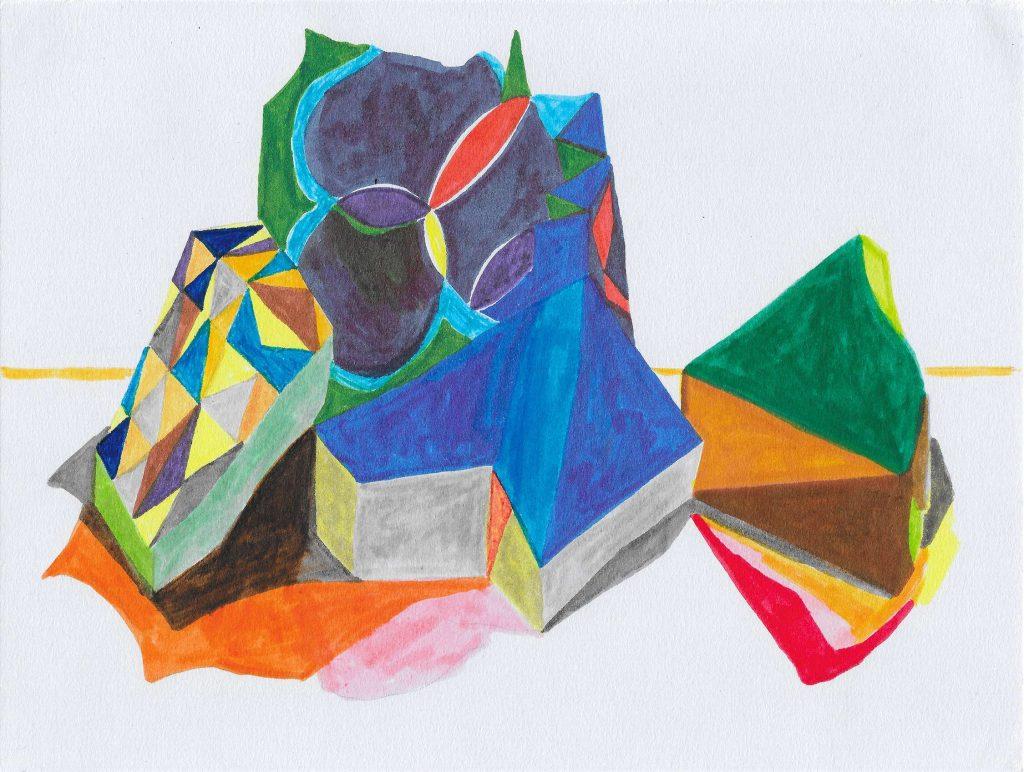 Arrange, 2017. Watersoluable pen on paper. Louisa Chambers