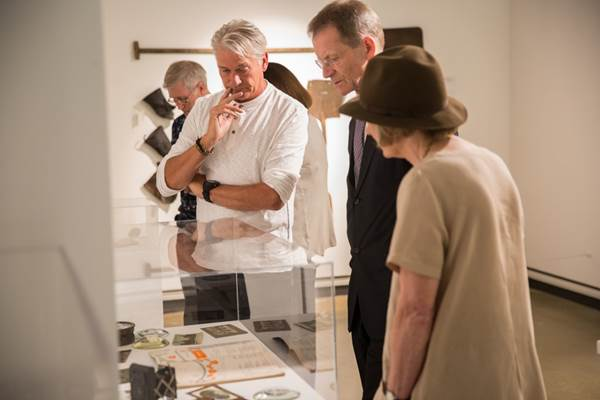 Sir Nicholas Serota, Chair Arts Council England, Memories of Industry exhibition at Attenborough Arts Centre with artists Robert Thacker (left) and Diane E Hall (right). Photo: David Wilson Clark did the photos