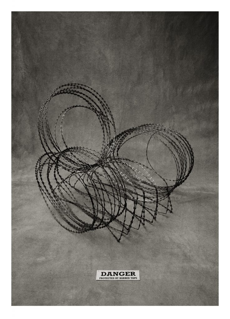 Michael Sanders, Sitting Comfortably 1987. Razor wire chair