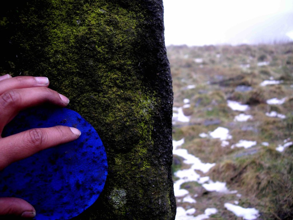 Mita Solanky, 'Spine Walk' photograph of the process of making the work walking the Pennine Way, 2015
